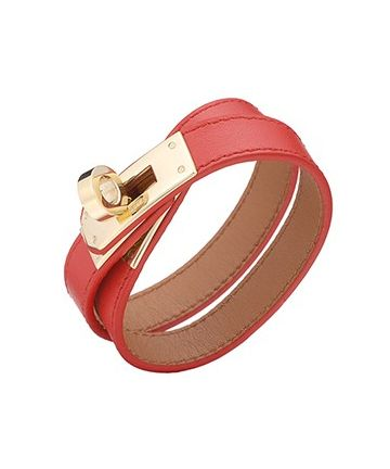 Hermes Kelly Double Tour Gold Plated Turnlock Red Leather Bracelet Sexy Style Women H064642CCS5M