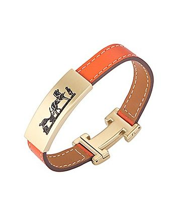 Hermes Gold-Plated H Logo Carriage & Horse Cutwork Orange Leather Clasp Bracelet Unisex Style Sale Online