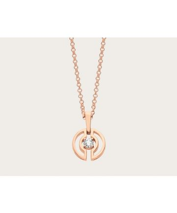 Simple & Fashion Bvlgari Parentesi Hollow-carved Design Pendant Single Central Diamond Ladies Necklace Silver/ Rose Gold 354605 CL858302/354311 CL858152