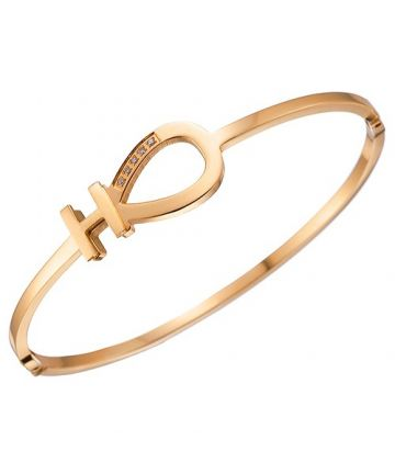 Party Style Women's Hermes Yellow Gold Plated Diamonds Bangle H Logo & Horseshoe Cutwork Bracelet