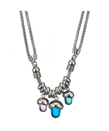 Bvlgari Silver-plated Two Chain Three Pendants Necklace Purple/Blue Crystals Fashion Design Lady For Sale America