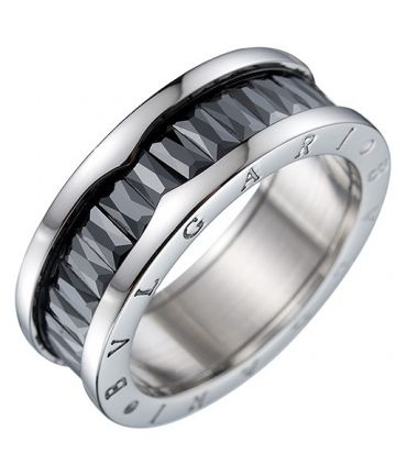 2018 Newest Bvlgari B.zero1 Silver Ring Black Crystals With Logo Women & Men Singapore Price