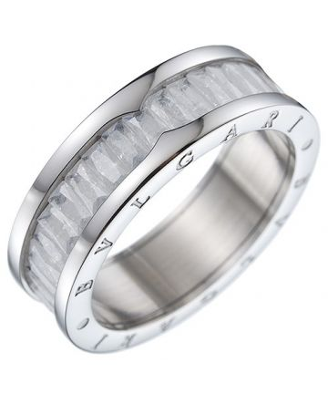 Bvlgari B.zero1 Square Crystals Silver Ring Studded Symbol Valentine Gift For Women Men Sale Dubai