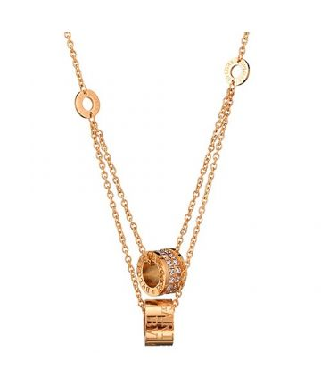 Bvlgari B.zero1 Double Chain Round Pendants Inlaid Crystals Gold-plated Necklace Noble Style Price India
