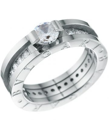 Bvlgari B.zero1 Engraved Crystals Silver Narrow Ring With Logo Unisex Style Street Fashion Australia Outlet AN852397