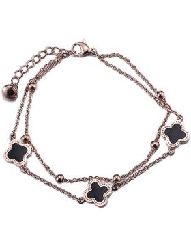 VCA Magic Alhambra Gold-plated Double Chain Crystals Three Black Clover Motif Bracelet Sale Australia Women